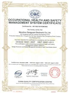 OHSAS 18001:2007 认证证书