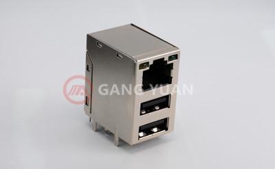 RJ45双层USB带灯(带周期)